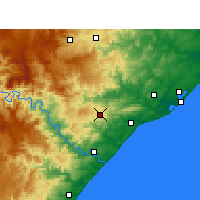 Nearby Forecast Locations - Eshowe - mapa