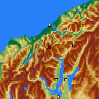 Nearby Forecast Locations - Mt.Aspiring NP - mapa