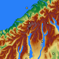 Nearby Forecast Locations - Mount Cook NP - mapa