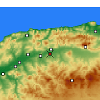 Nearby Forecast Locations - El Attaf - mapa
