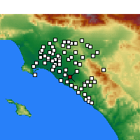 Nearby Forecast Locations - Santa Ana - mapa