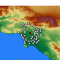 Nearby Forecast Locations - Downtown Los Angeles - mapa