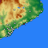 Nearby Forecast Locations - Canet de Mar - mapa