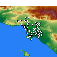 Nearby Forecast Locations - Hawthorne - mapa